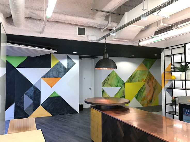 Level 39 - floor to ceiling hand-painted murals for the new office.