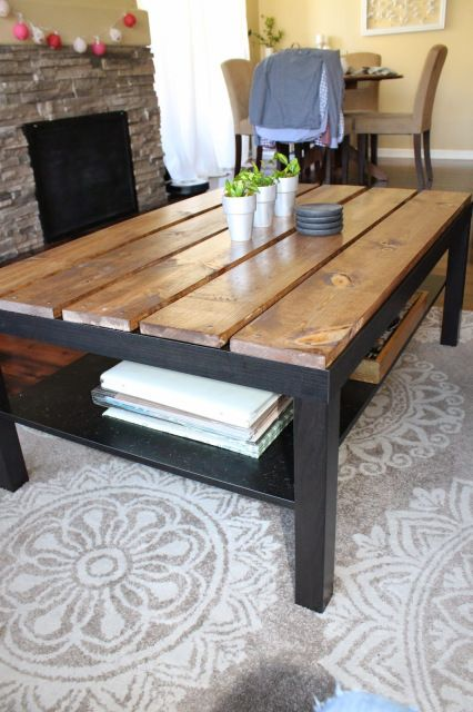 Ikea coffee table hack modest and made pinterest for Ikea lack coffee table hack