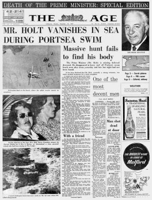 Harold Holt missing, The Age 18 December 1967