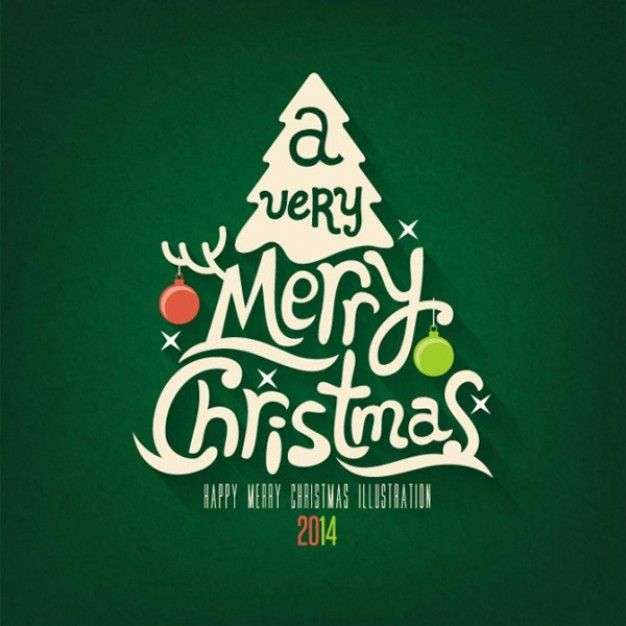 Merry Christmas greeting card in green