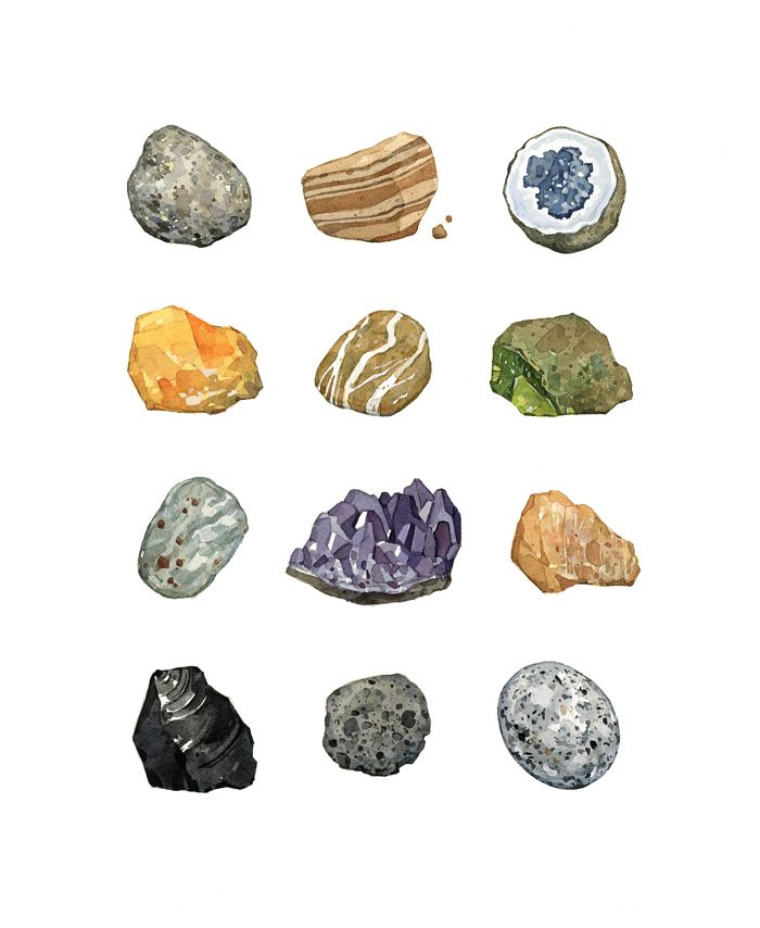 A collection of rocks and minerals. Includes amethyst, obsidian, pumice, serpentine, a geode, garnets, feldspar, and more! Archival print from watercolor painting 8x10 Print 11x14 Mat Signed / dated