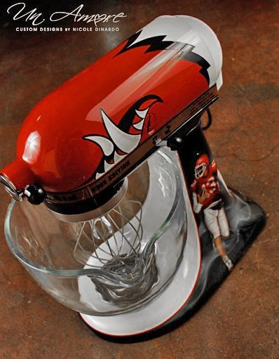 "Un Amore Custom Designs ""Hogs"" (Arkansas U. inspired) Football Kitchenaid mixer"