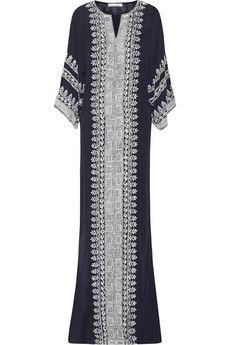 Oscar de la Renta Embellished embroidered silk-georgette gown | NET-A-PORTER