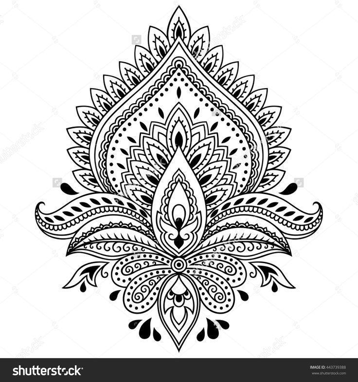 Hennastrauchtatowierungs Blumenschablone In Der Indischen Art Ethnisches Blume Art Blume Blum Blumenschablone Mandala Tattoo Vorlagen Blumen Schablone