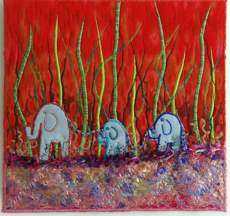 "My latest mini art quilt ""Elephants on Parade"""