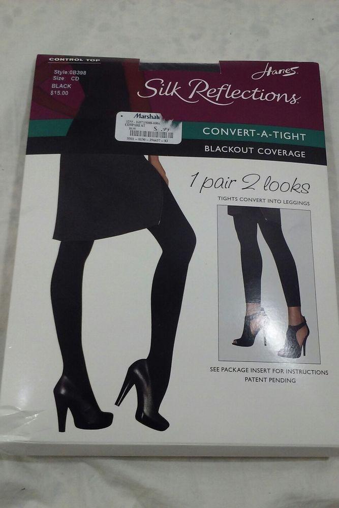 5a44524c1de Hanes Silk Reflections Size CD Black Convert-A-Tight  Hanes  Tights   leggings