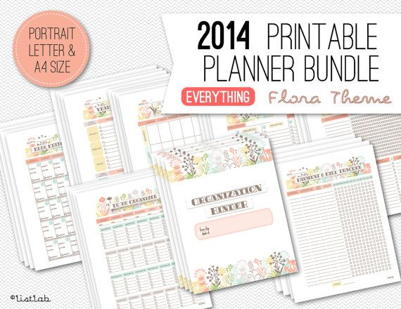 2014 Printable PLANNER BUNDLE with Coversheets  59 by ListLab, $55.00