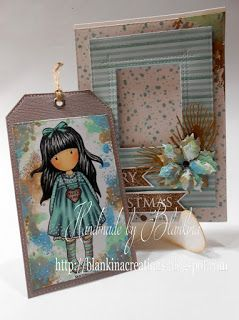 Blankina creations: Gorjuss Merry Christmas card with tag Copic Italia & Inky Chicks DT post