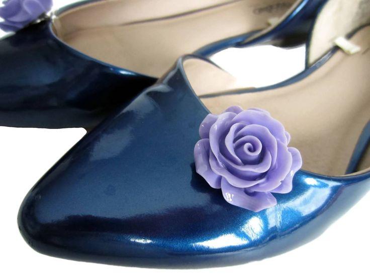 Purple Flower Shoe Clips, Purple Rose Shoe Buttons, Flower Clip On Shoes, Flower Girl Shoe Clips, Purple Beach Wedding, Purple Shoe Clips by ShoesNChampagne on Etsy