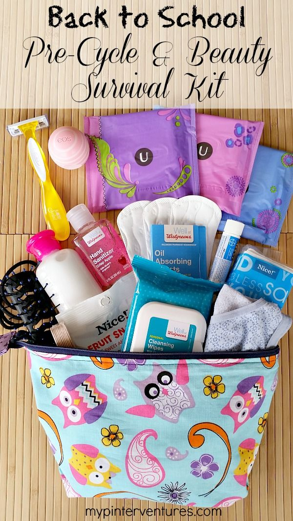 Back to School Teen Pre-Cycle & Beauty Survival Kit - Make sure your teen girl is ready for her first period by making a back to school teen pre-cylcle & beauty survival kit. List of what to include in her first kit. {ad} #CycleSurvival #CollectiveBias