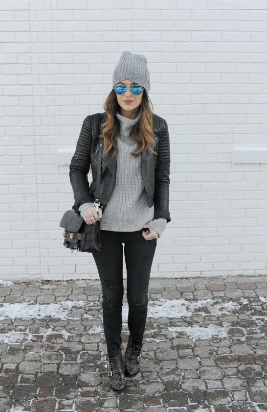 {Leather Jacket: c/o French Connection || Sweater || Denim || similar Boots (splurge version here) || Bag: Proenza Schouler || Beanie || Sunglasses || Ring: c/o Kendra Scott}