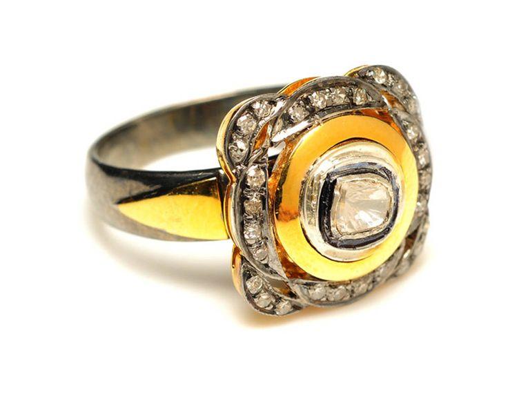 Polki Pave Vintage Look Rose Cut Diamond Silver Art Deco Ring Jewelry by VinitaJewelsllp on Etsy