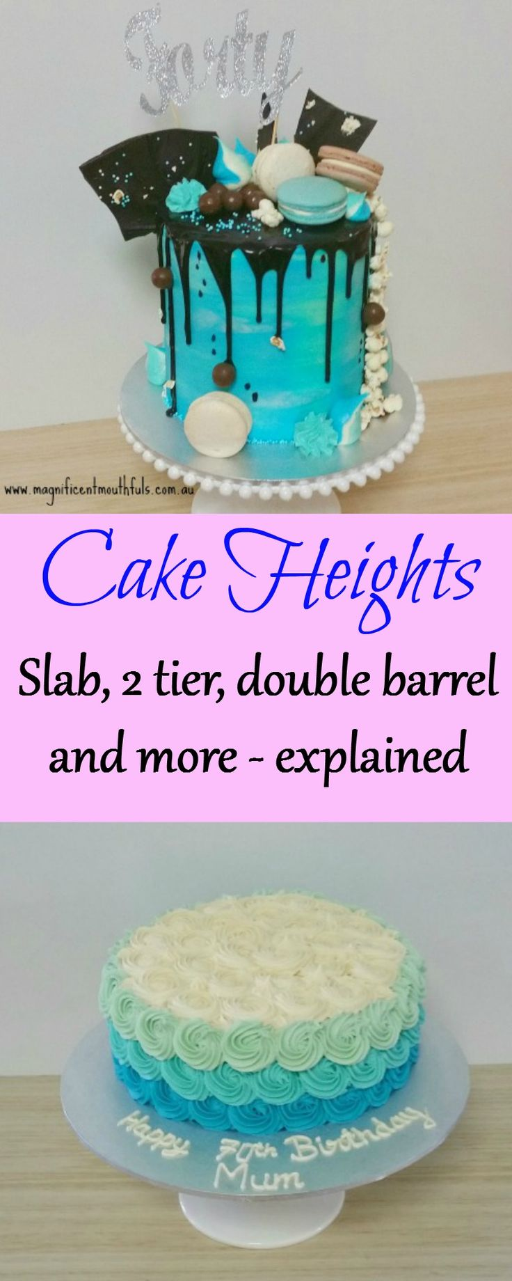 What's The Difference? Single, Extended, Double Barrel Cake...? | As well as the diameter of your cake, the height of your cake can determine approximately how many servings you will be able to slice. | http://magnificentmouthfuls.com.au/2017/07/07/different-cake-heights/