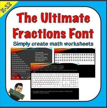 #freefonts Now you can use your keyboard to create fraction worksheets in minutes! Download the Ultimate Fractions Font keyboard to easily create fractions and mixed numbers.