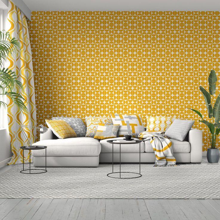 Mustard Yellow + White Fairfax Wallpaper in 2020