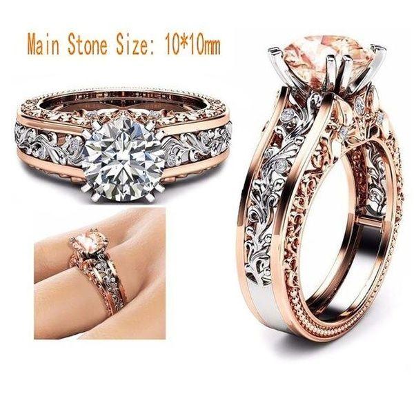 6 Colors Princess Black Diamond Engagement Ring 14k Rose Gold And