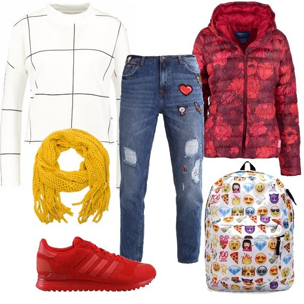 Rosso, giallo e bianco insieme in un coloratissimo mix. Jeans modello baggy con applicazioni, felpa dalle linee essenziali, sciarpa con frange, piumino a stampa floreale e scarpe a pieno colore. Lo zainetto racchiude tutti gli elementi in un'esplosione di emoticon.