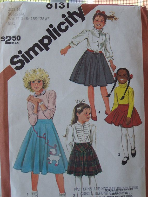 UnCut Simplicity 6131 Sewing Pattern Girls Circle Poodle Skirts Sizes 10 To 14