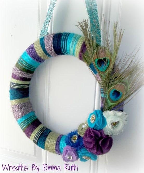 Peacock Yarn Wreath by ozlem.yildirim