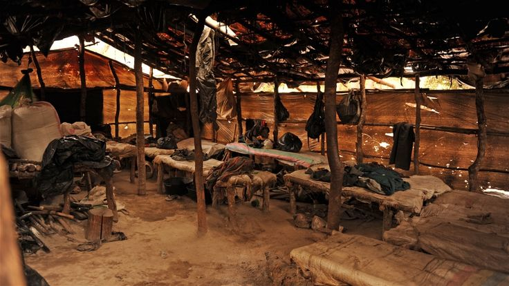 The miners spend months living in makeshift camps. Guy Oliver/IRIN