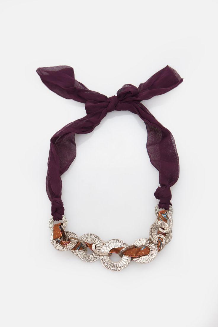 Silver Chain Ribbon Collar Necklace
