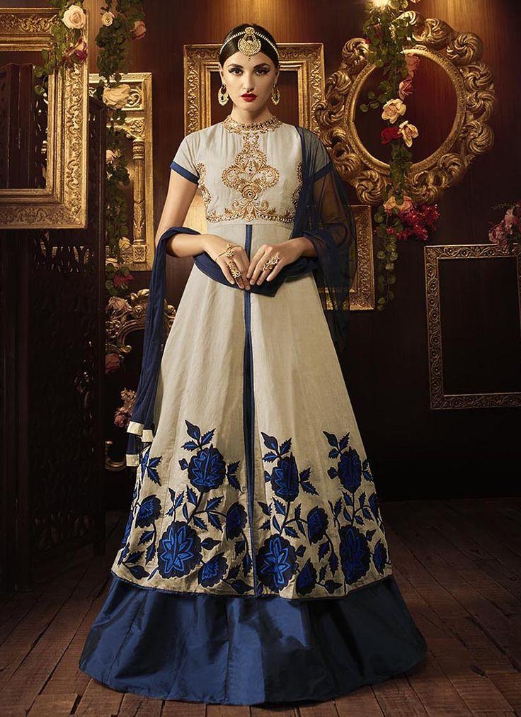 Cream & Blue Wedding Special Anarkali Suits   Wholesale Salwar Kameez Supplier