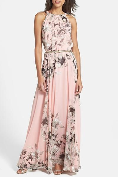 Baby Pink Floral Halter Neck Maxi Dressfeatures sweet floralprint. Long-length cut make you look even taller and add more grace elements. Details: Floral pri