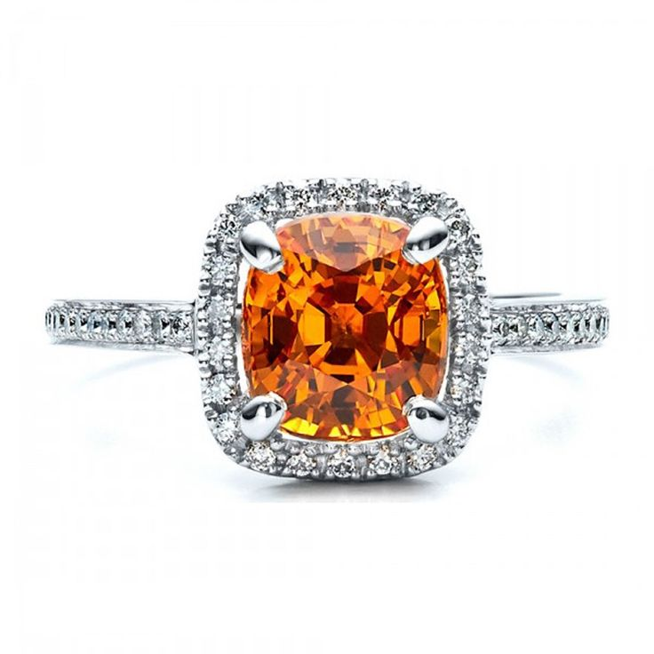 orange wedding ring - orange sapphire
