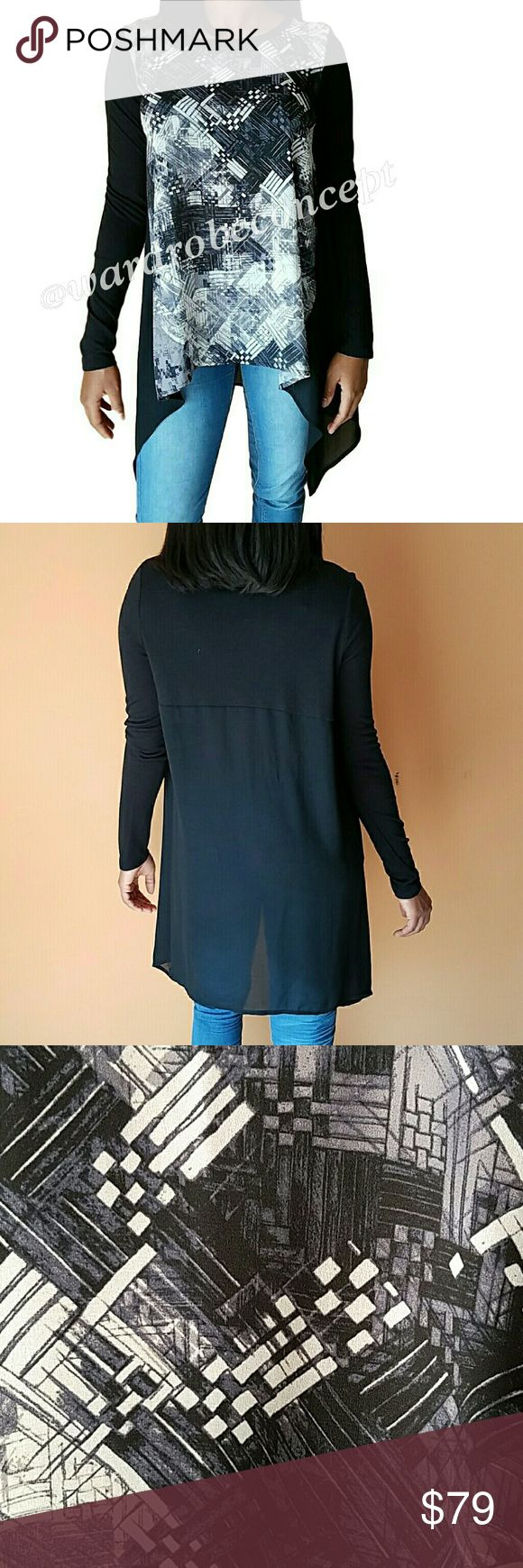 TROUVE Hi-low Long-sleeved Color-block Tunic Top EXCELLENT GENTLY LOVED CONDITION! Soft and beautiful color-block long-sleeved tunic. Hi-low design with crew neck. Measurements available upon request. No rips, tears, or stains. Please use the offer button for all offers. Feel free to bundle for a great discount! No trades, ladies. Trouve Tops Tunics