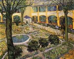 Courtyard of the Hospital in Arles  Vincent Van Gogh