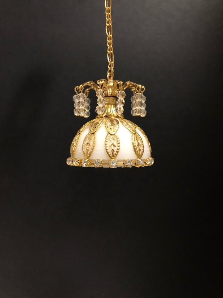 Dollhouse Miniature Handcrafted Hanging Lamp With Shade With Crystals 1 12 12v Hanging Lamp Dollhouse Miniatures Miniatures