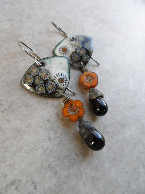 Fall Solstice ... Enameled Copper Glass Headpins by juliethelen