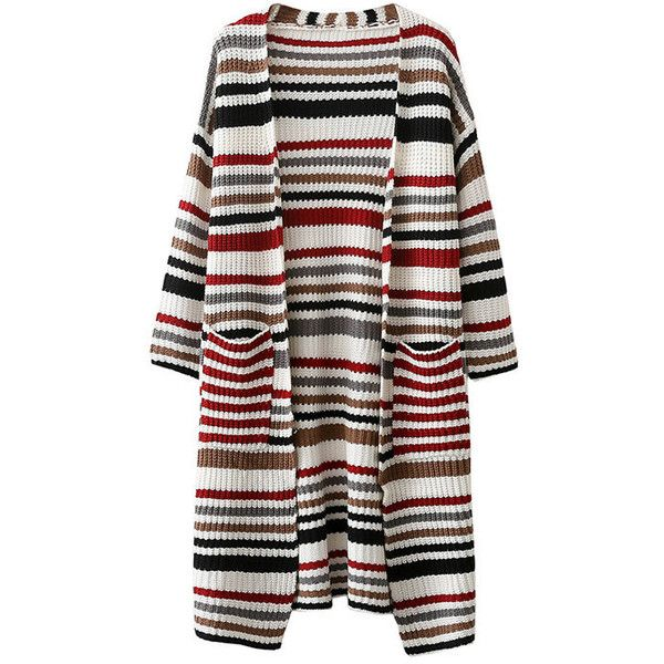 Yoins Multicolor Front Pockets Stripe Pattern Cardigan ($39) ❤ liked on Polyvore featuring tops, cardigans, black, stripe cardigan, long sleeve cami, striped cami, colorful tops and striped cardigan