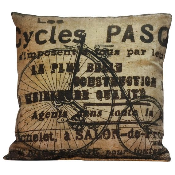 Throw Pillow Cover Vintage French Pillow by ElliottHeathDesigns, $39.00