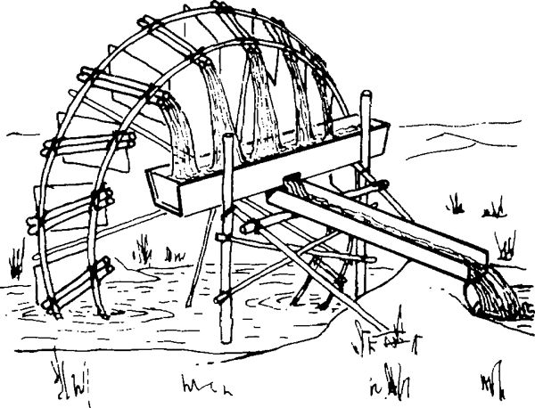 "Water lifting devices~The water powered ""noria"", a water wheel with pots, buckets or hollow bamboo containers set around its rim, is similar in principle to the ""Persian Wheel"" except the containers are physically attached to the drive wheel circumference rather than to an endless belt suspended from it."