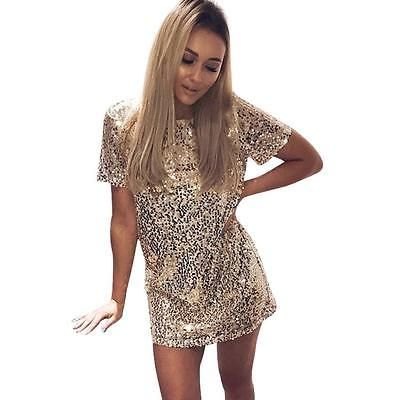 Short Sequined Prom Dresses Cocktail Party Wear Gold Black Rose Gold S M L XL