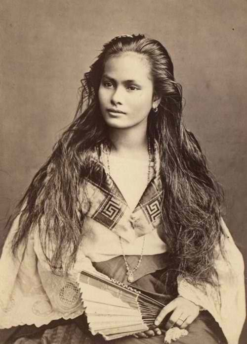 With a face that tells a thousand tales, this unknown young woman was photographed in the Philippines by Dutch photographer Francisco Van Camp in 1875. The photograph's inscription describes her as an ethnic Chinese mestizo. Fresh-faced and all-natural with her hair flowing wildly, this black and white portrait is worlds away from the Victorian photography we normally see. What a beauty.