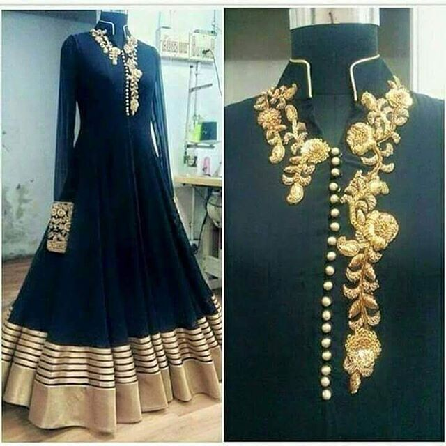 Designer gown partywear dress hand embroidery work image