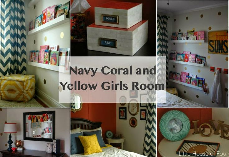 Navy, Coral and Yellow Bedroom Reveal - Little House of Four