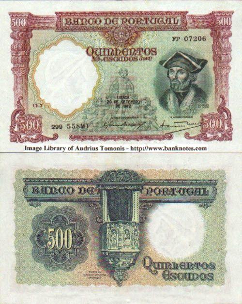 Portugal 500 Escudos 29.9.1942 (D. de Goes, cherubs)