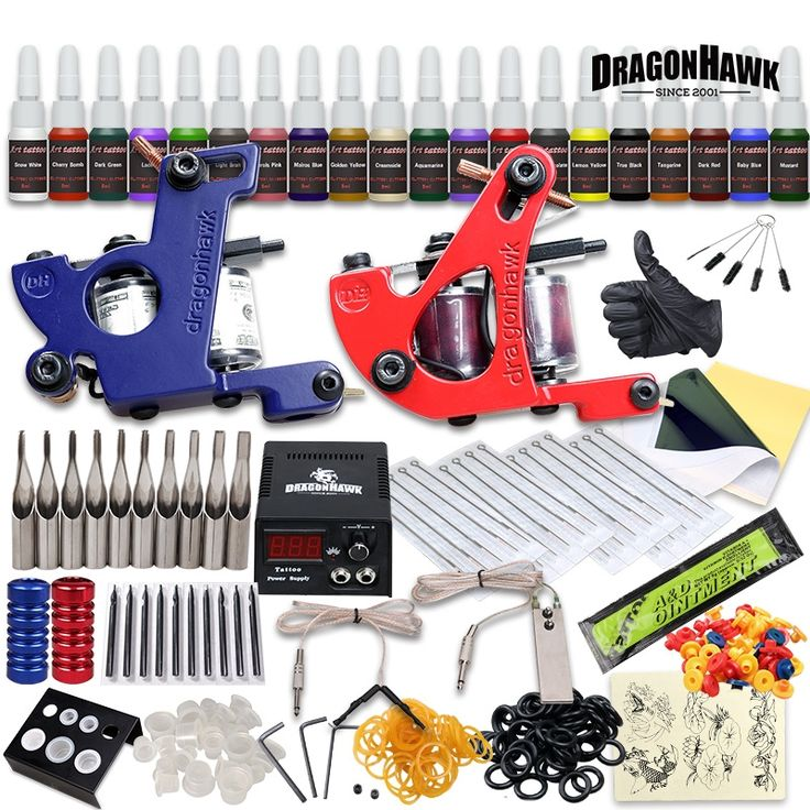 46.99$  Buy now - Professional Tattoo Kit 2 Machine Gun 20 Color Inks Power Supply Complete Tattoo Kits  #SHOPPING