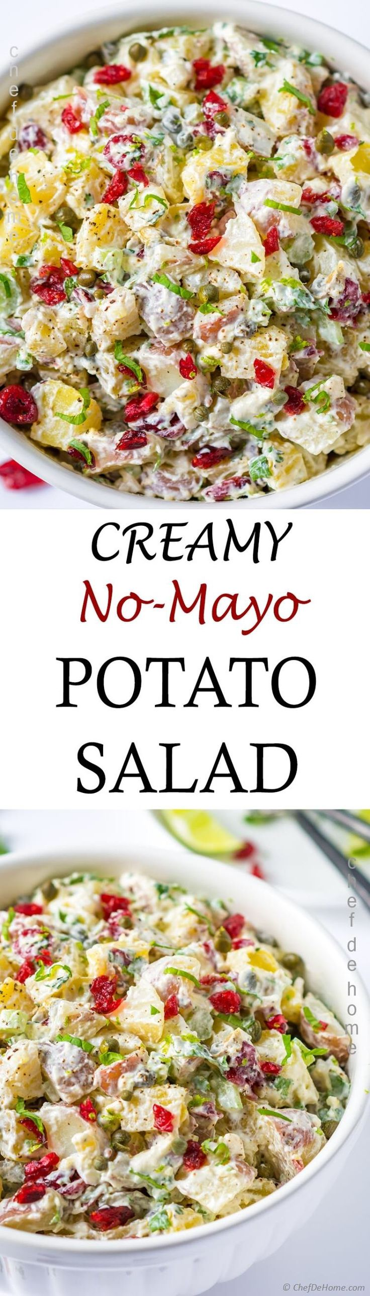 Recipe for Creamy Potato Salad without Mayo. Simple, easy and ridiculously creamy potato salad with combination of red skin potatoes and golden potatoes, crunchy celery, sweet cranberries and creamy sour cream dressing without mayo.This is a kinda potato salad which everyone can enjoy! All who love potato salads and all who can't eat it when it has mayo! I replaced mayo with two creams.,