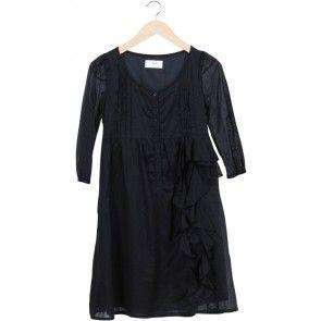 Black Ruffle Midi Dress