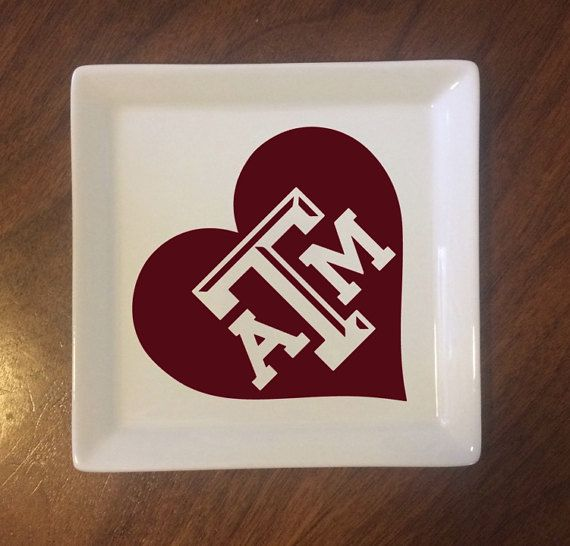 Jewelry Dish -- TEXAS AGGIE -- TEXAS A & M -- Trinkets, Ring and Bling - Bridesmaid - Nurse -  Teacher - Birthday - Mother's  Day - Sorority