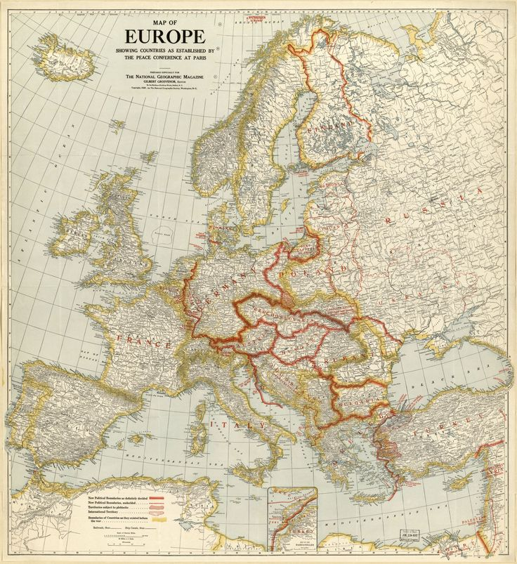 One of the earlier National Geographic maps published in 1920 Europe Showin