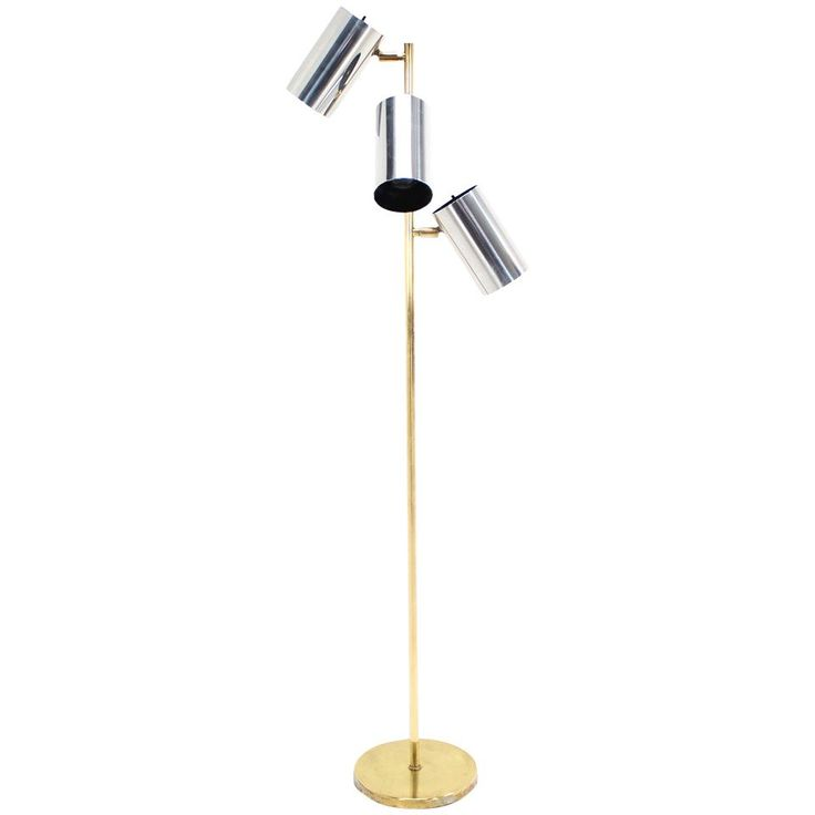 Midcentury Brass Base Floor Lamp with Three Fully Adjustable Chrome Shades | From a unique collection of antique and modern floor lamps at https://www.1stdibs.com/furniture/lighting/floor-lamps/