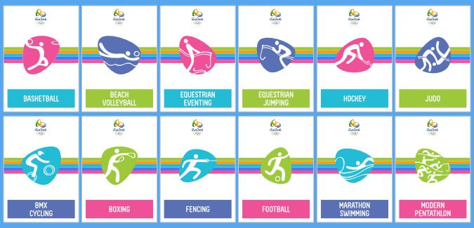 Printable cards displaying the 42 events at the Rio 2016 Olympics. Each card is approximately A6 size.