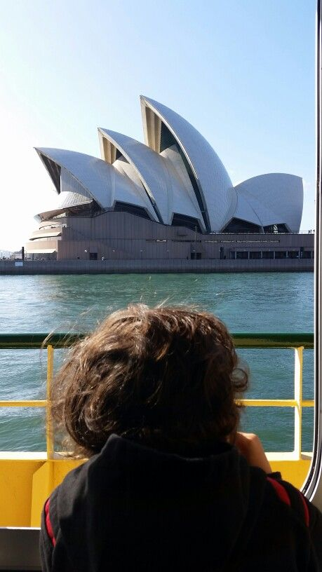 Kai on cruise past Sydney Opera House March  2015 travelling with kids rocks