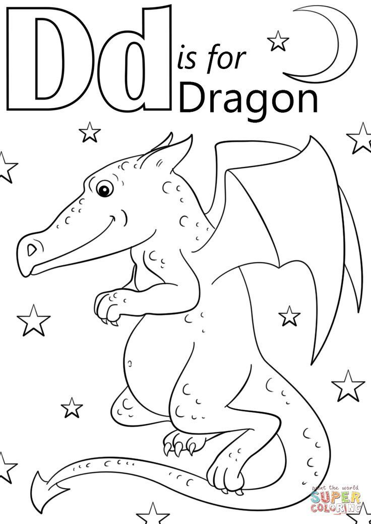 letter d is for dragon coloring page