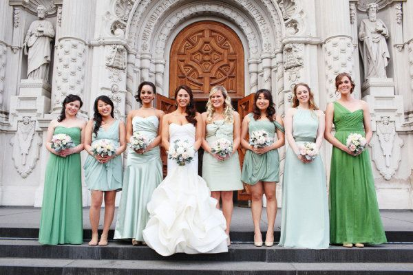 green bridesmaids dresses from mint to seafoam | Photography by maxwanger.com